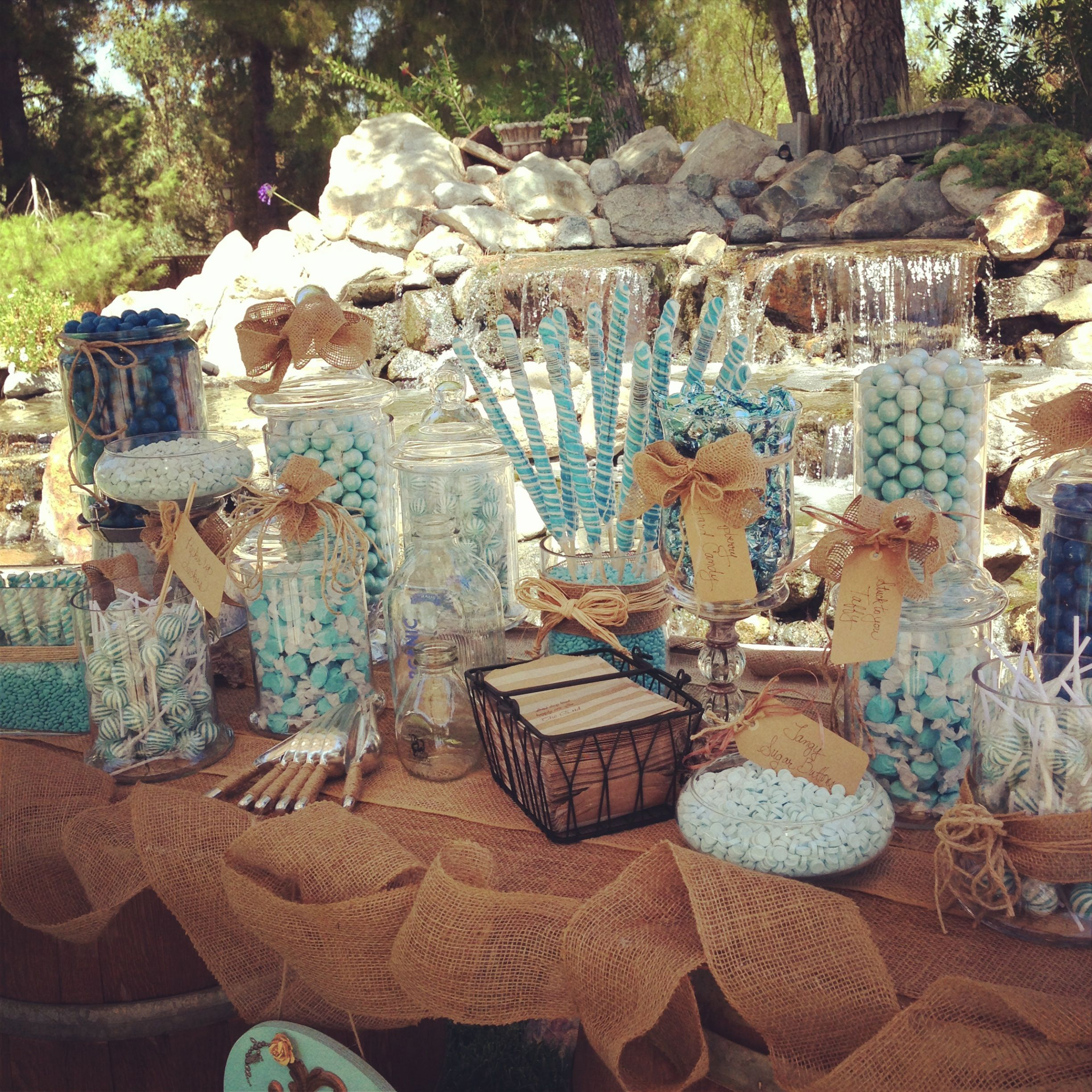 Rustic Wedding Candy Table Ideas: Candy Buffet, YUMO! Www.TimelessEventDesign.com