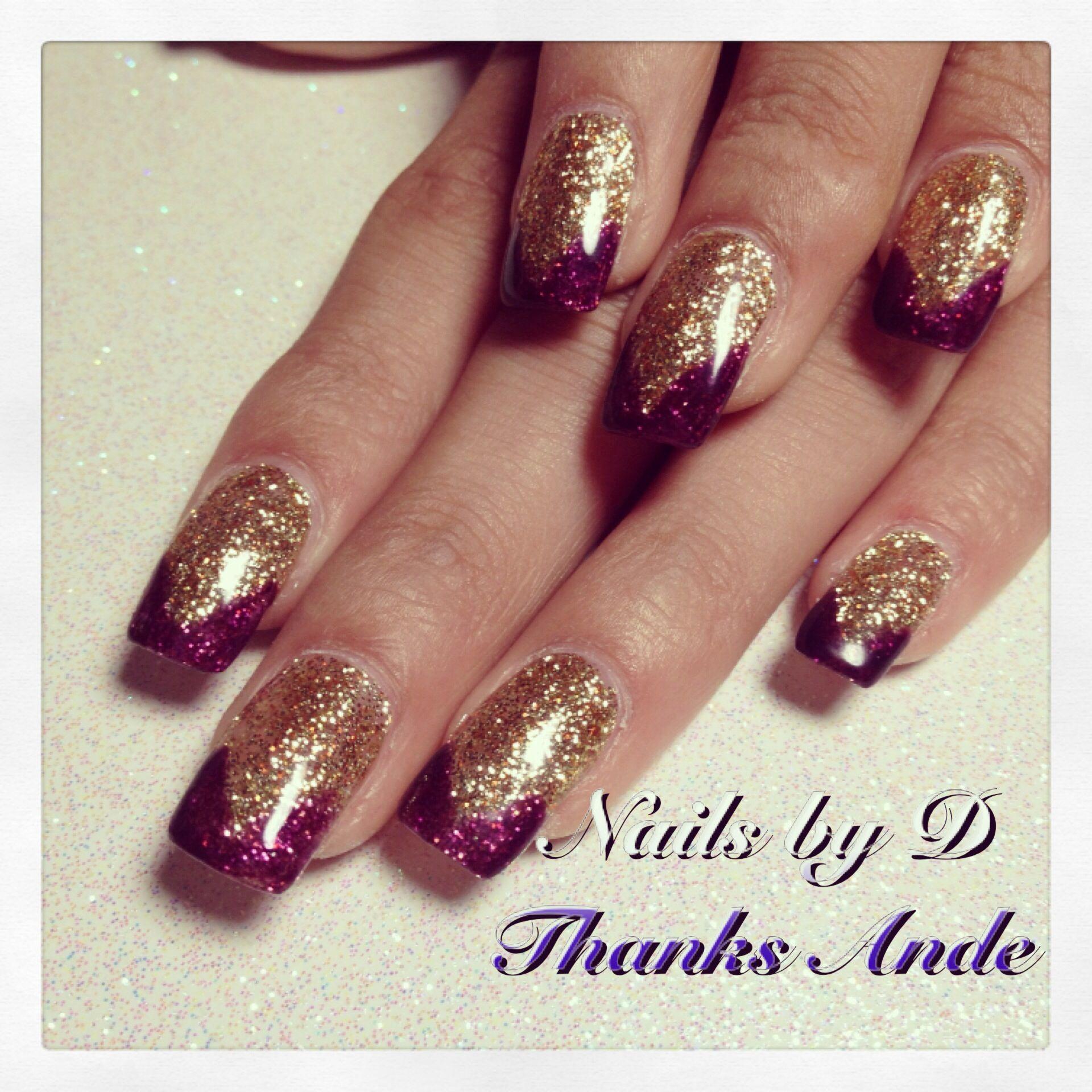 Gold and Maroon fall nails | Nails | Pinterest | Homecoming nails ...