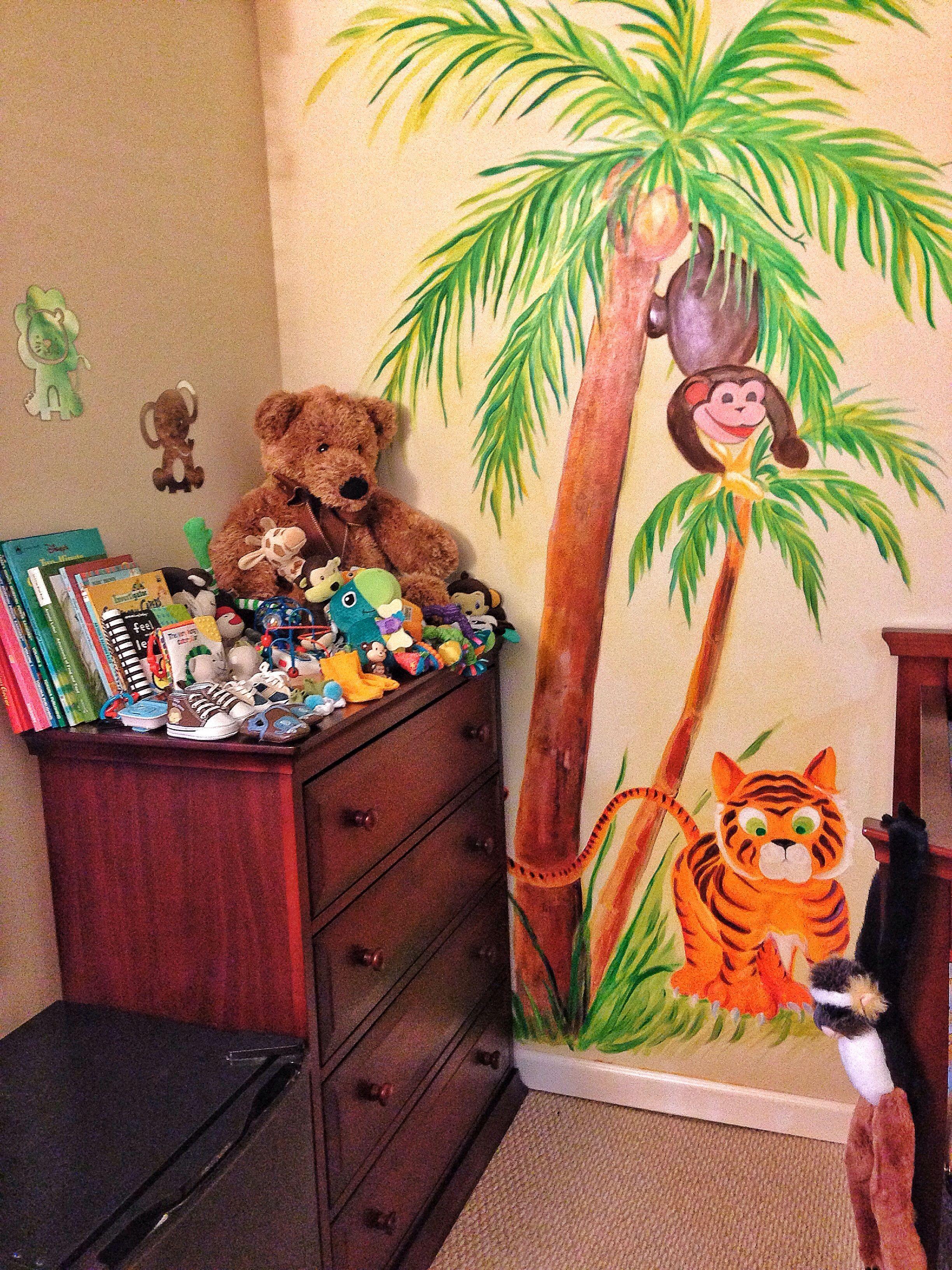 Jungle themed nursery mural