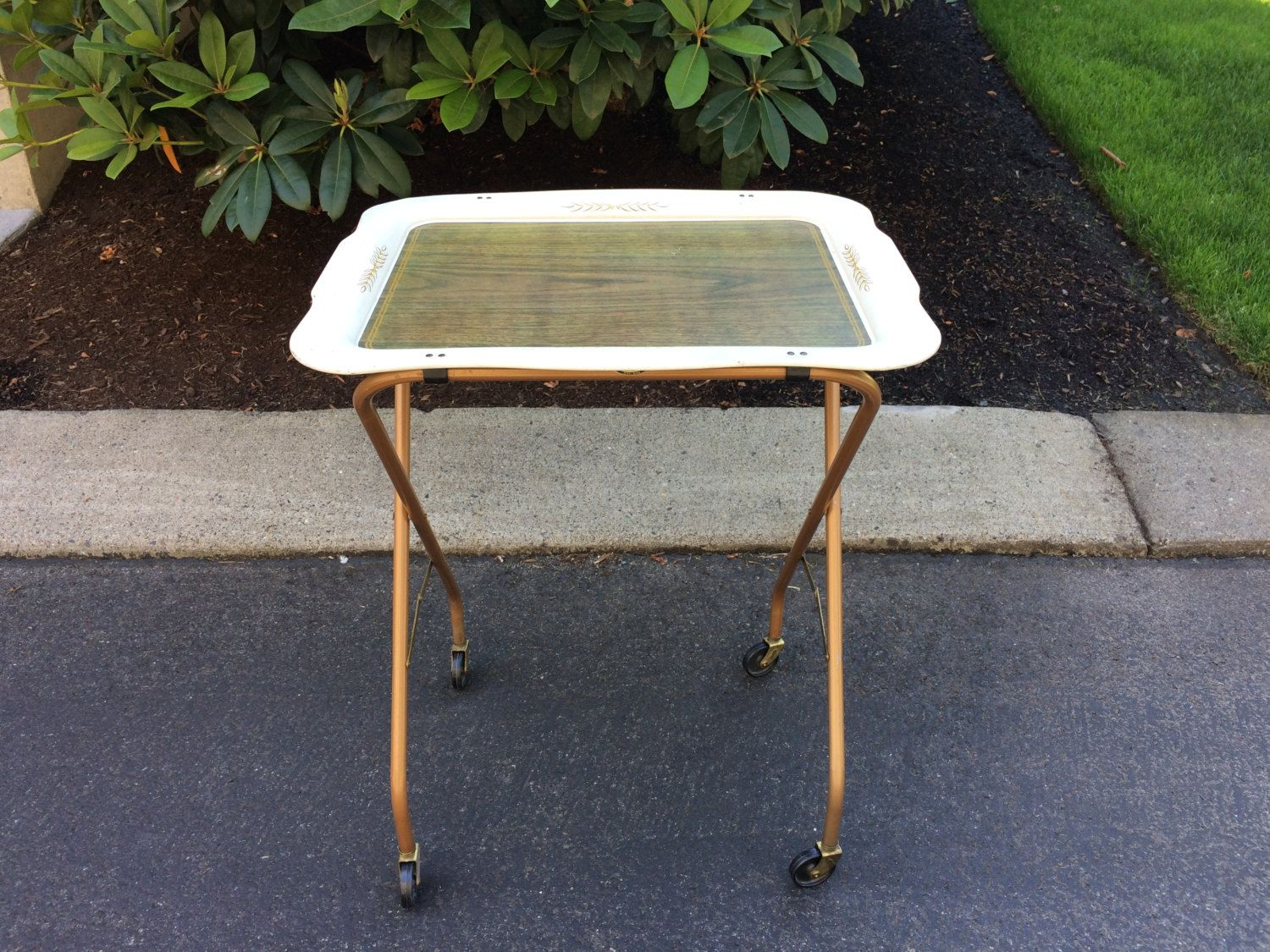 Vintage TV Tray, Faux Wood Pattern, Vintage Cal Dak, TV Tray On Wheels, Dinner  Tray, Foldable Tray, Computer Tray, Metal Tray, Cal Dak