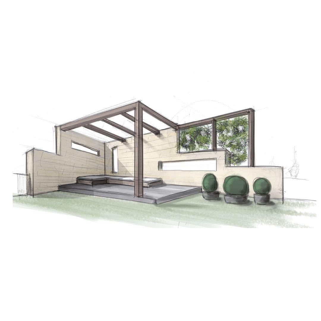 Innenarchitektur wohnzimmer grundrisse entwurf außenbereich  handzeichnung modernearchitektur