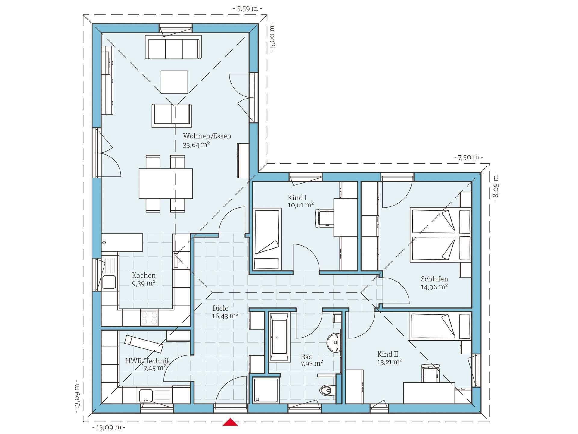 Bungalow grundriss lform Grundriss bungalow, Haus