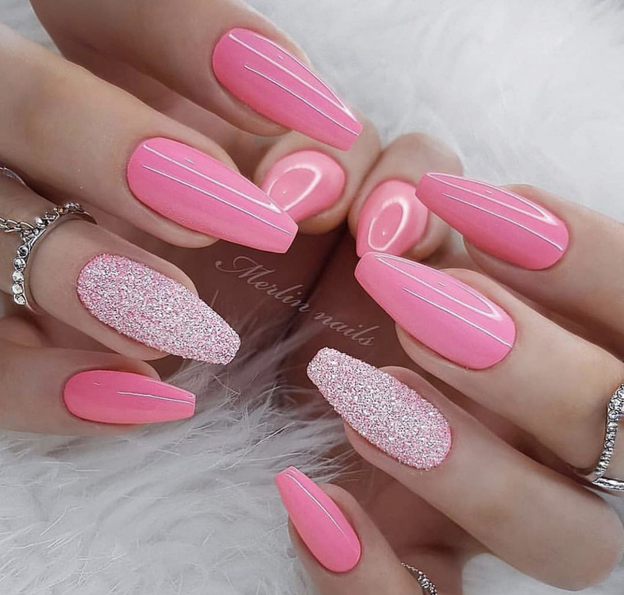 Pink Nails With Glitter Accents For Spring And Summer Pink Nails Coffin Nails Designs Summer Nails