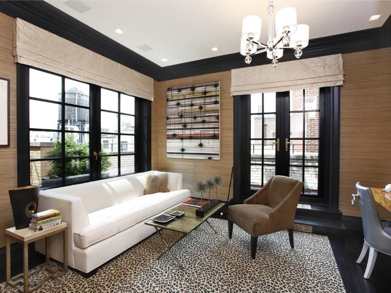Cococozy+Park+Avenue+Penthouse+Apartment+real+estate+listing+home+office+cheetah+animal+print+rug+natural+grass+wallpaper+french+doors+black+lacquer+trim+molding.jpg (800×600)