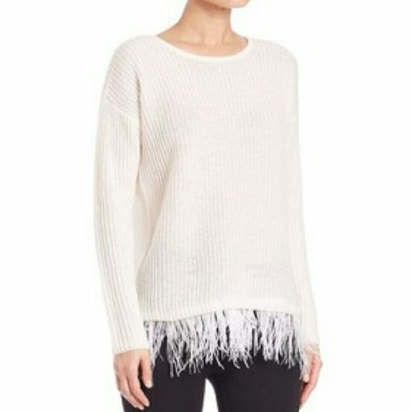 Design History Ostrich Feather Fringe Sweater Pearl sweater has a relaxed  fit and gets finished off c43ba6459ee