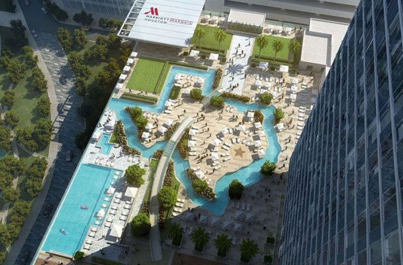 Texas Shaped Pool To Open In New Houston Hotel Houston Hotels Hotel Pool Rooftop Pool