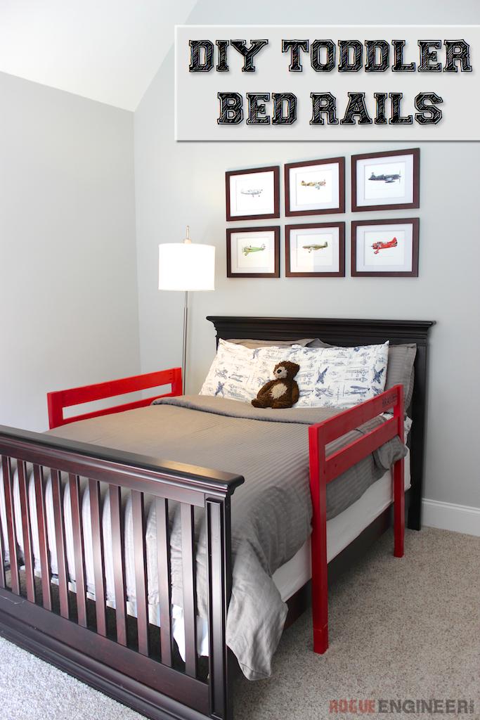 DIY Toddler Bed Rail | Free Plans | rogueengineer.com #DIYchildsbedroom #babyandchildDIYplans