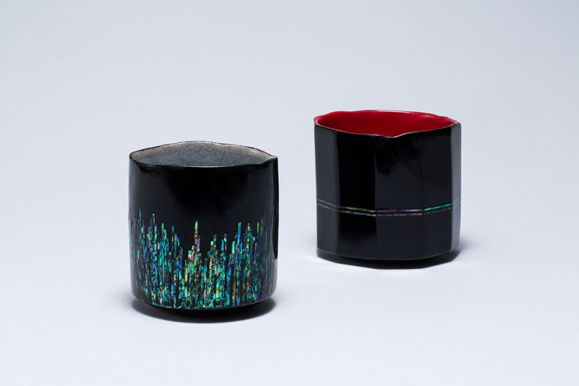 Sheen's Cup: laquerware ceramics cup/  seung-eun Sheen/ Stoneware/ hand built/ electric fired/ lacquerware inlaid with mother-of-pearl/ For more information: sheen486@naver.com