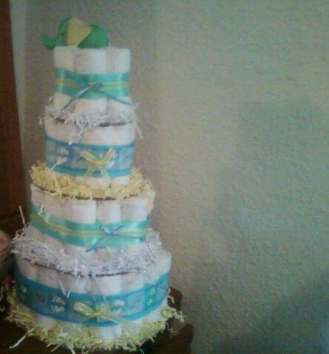 Elephant 4 layer diaper cake