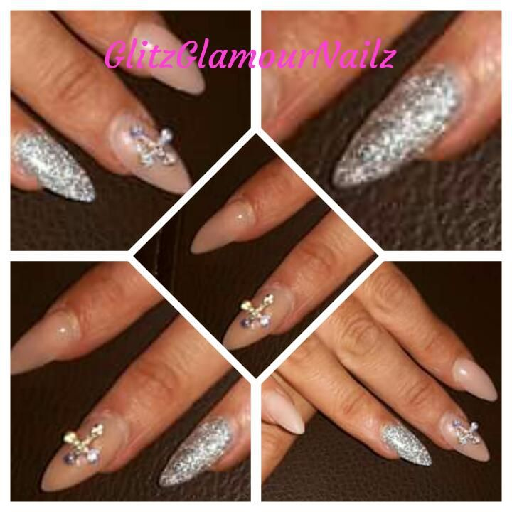 Nude nails #glitzglamournailz #nudenails #glitter #crosses