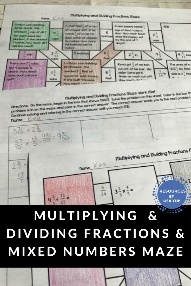 hight resolution of Multiplying and Dividing Fractions and Mixed Numbers Maze Activity    Fractions