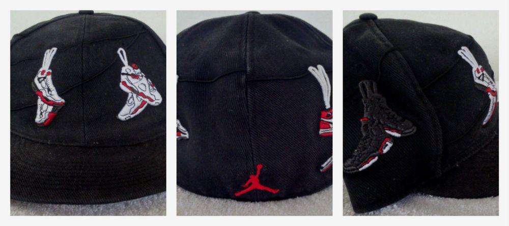 Mens Nike Air Jordan Shoes J's Wire Retro Blk/White Size Fitted Hat AJ  Vintage