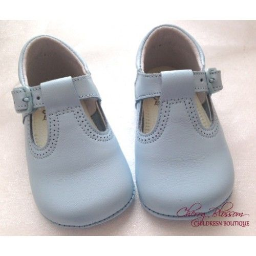 Baby Boy Pale Blue Leather Pram Shoe