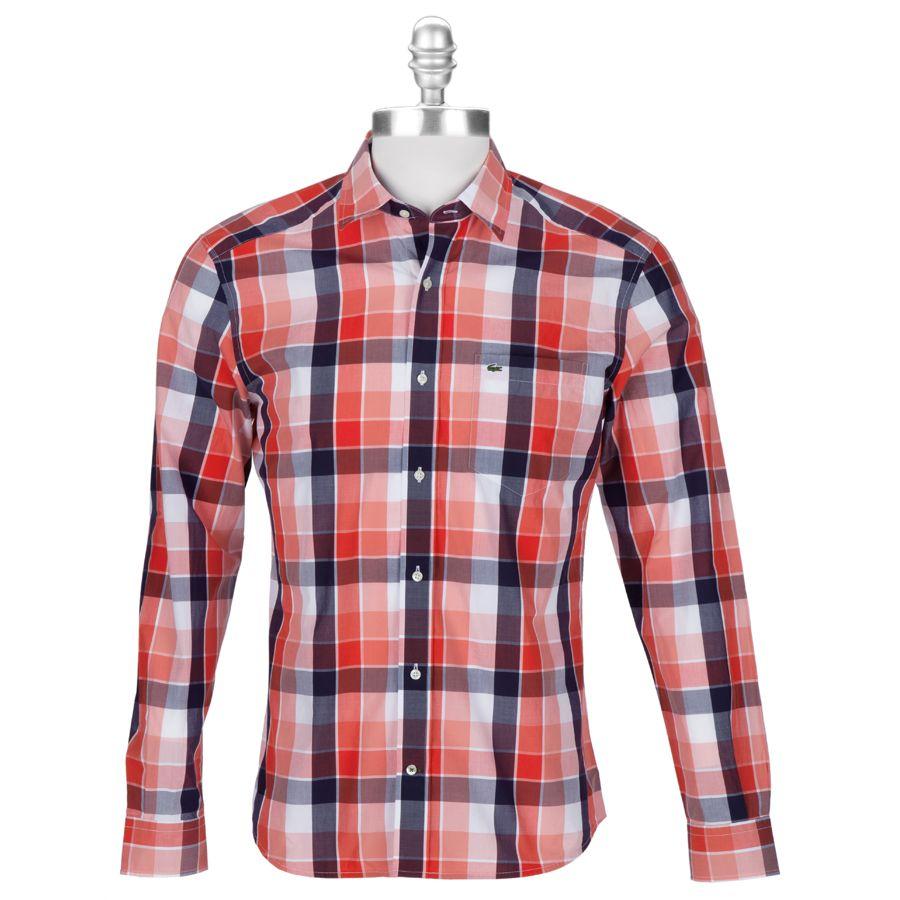 0d12be21d6b331 Lacoste Men s Contemporary Slim Fit Bold Plaid Poplin Shirt  VonMaur ...