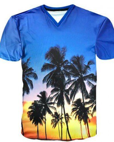 08a4d09329c 3D sunset palm tree t shirt V neck xxxl for men beach vacation wear ...