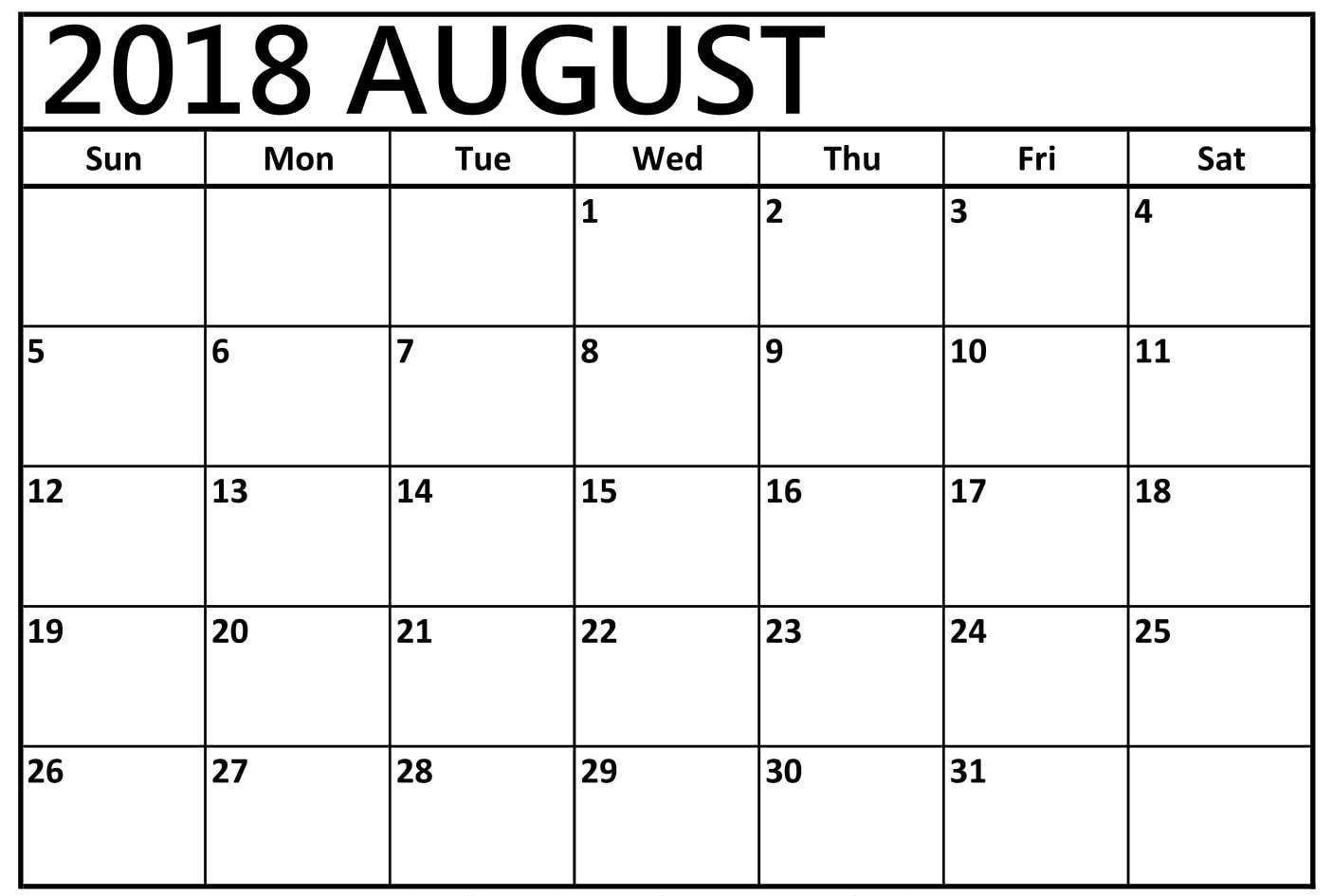 Printable Calendar August 2018 Monthly Template With Images