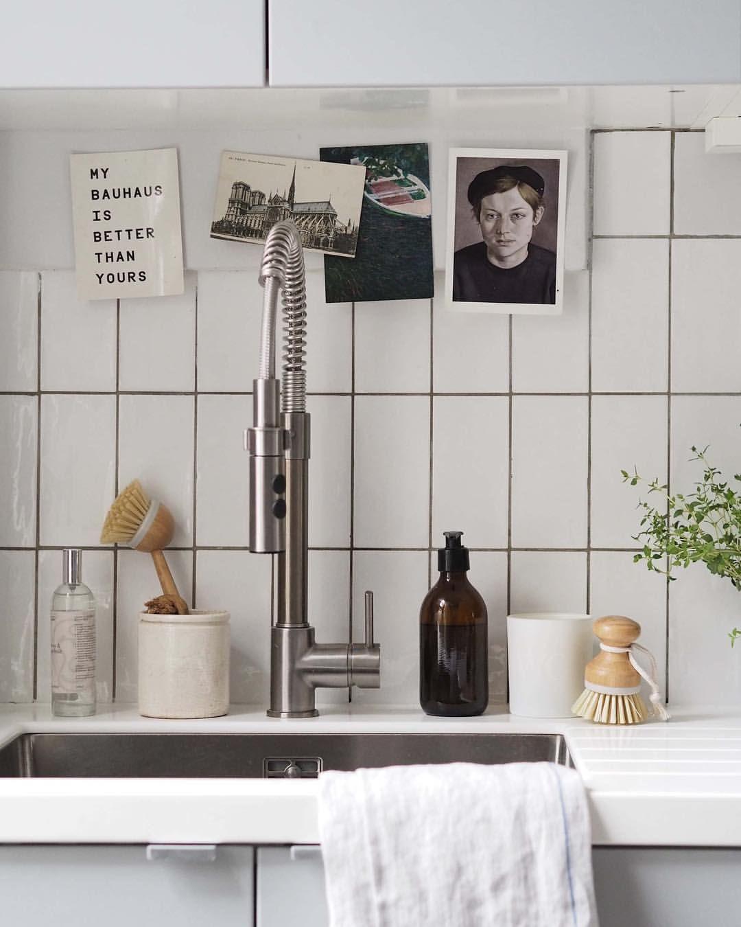 Kitchen sink - white metro tiles - grey grout - Ikea tap @catesthill ...