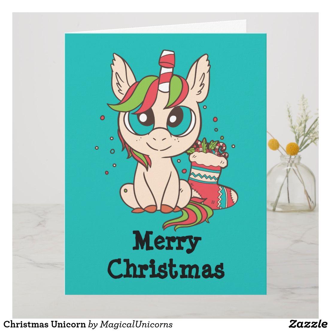 christmas unicorn card  zazzle  christmas unicorn