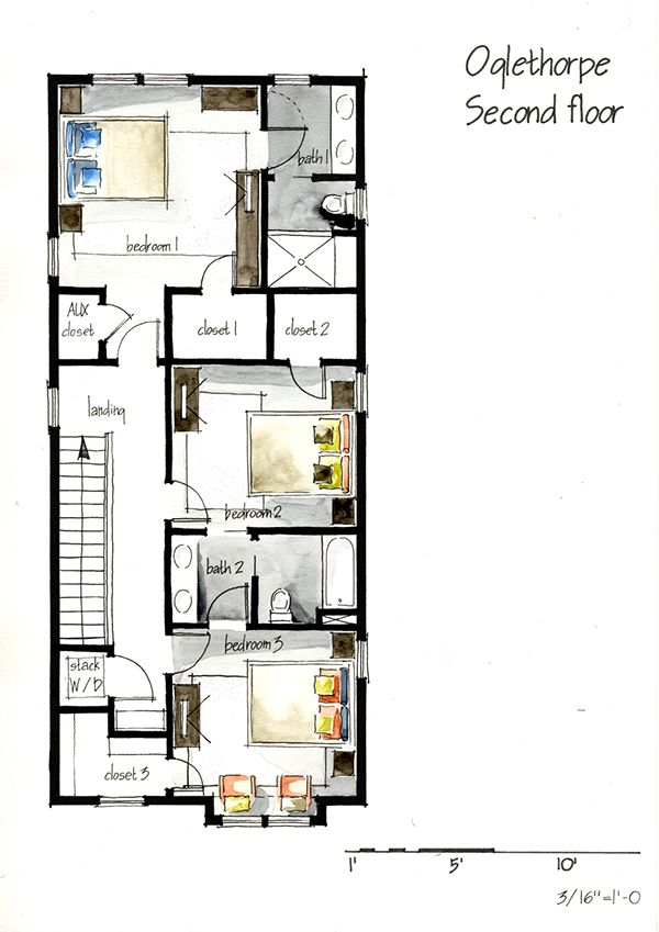 Drawing House Floor Plans: Real Estate Watercolor 2D Floor Plans Part 1 On Behance