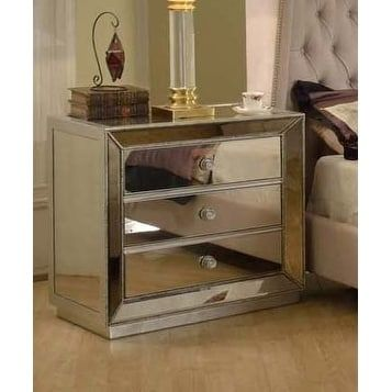 Best Master Furniture 3 Drawer Mirrored Nightstand Silver 400 x 300