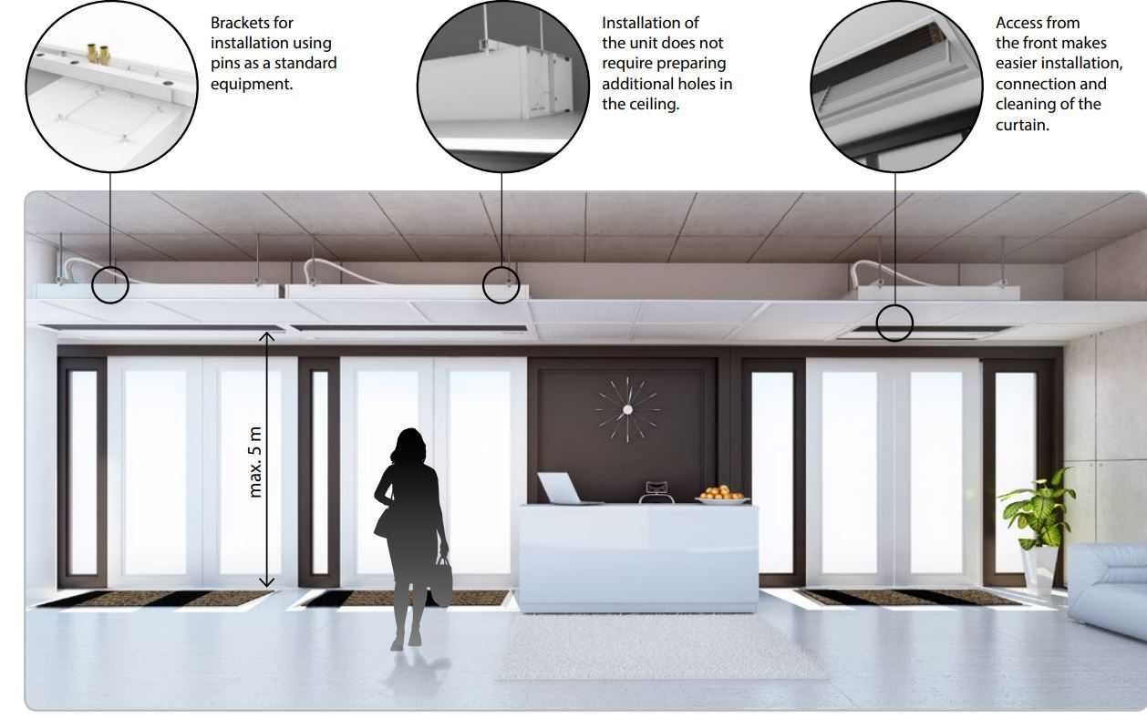 Recessed Air Curtains Suspended Ceiling Concealed Ambient Or