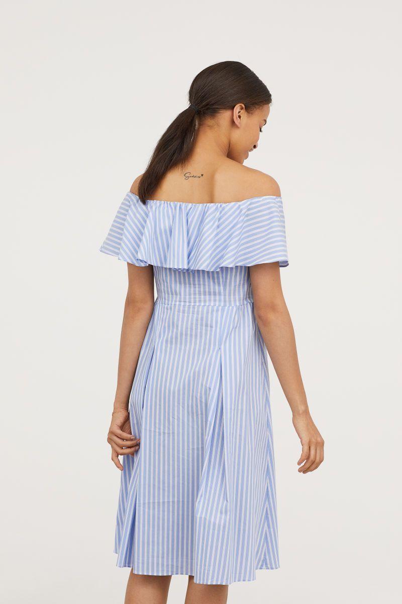 48645af80608 Off-the-shoulder Dress | Light blue/white striped | WOMEN | H&M US ...