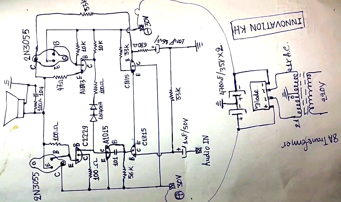 2n3055 amplifier circuit diagram [ 1165 x 691 Pixel ]