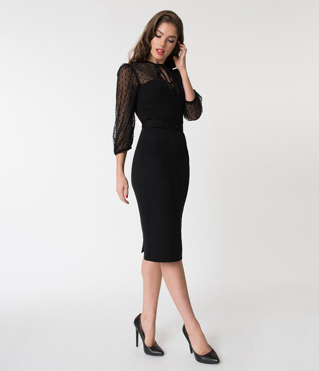 51b24be6780 Vixen by Micheline Pitt Black Polka Dot Frenchie Wiggle Dress – Unique  Vintage