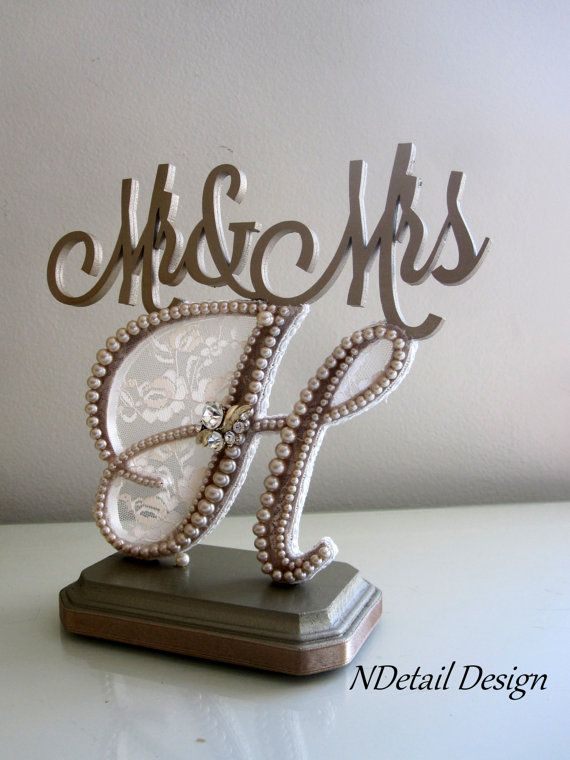Wedding Cake Topper Mr Mrs Monogram Letter H In Champagne Lace And Pearls