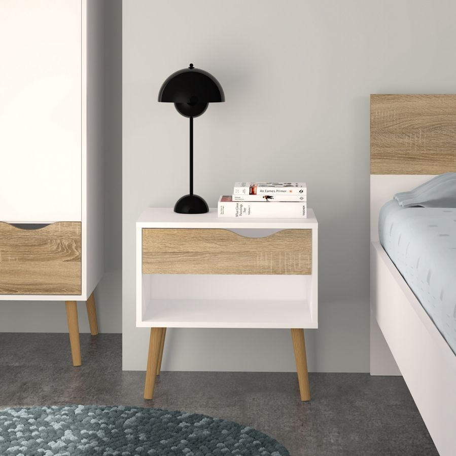 nachttisch sunndal wei eiche dekor bett in 2018. Black Bedroom Furniture Sets. Home Design Ideas