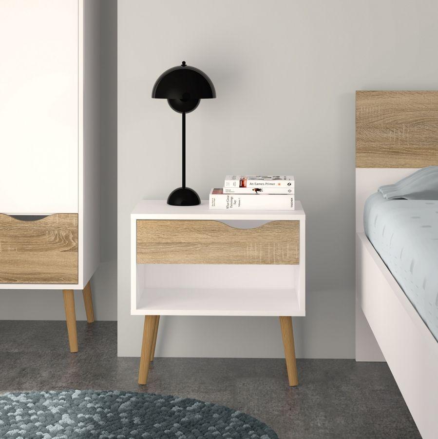 Nachttisch Sunndal - Weiß / Eiche Dekor | Bett | Pinterest ...