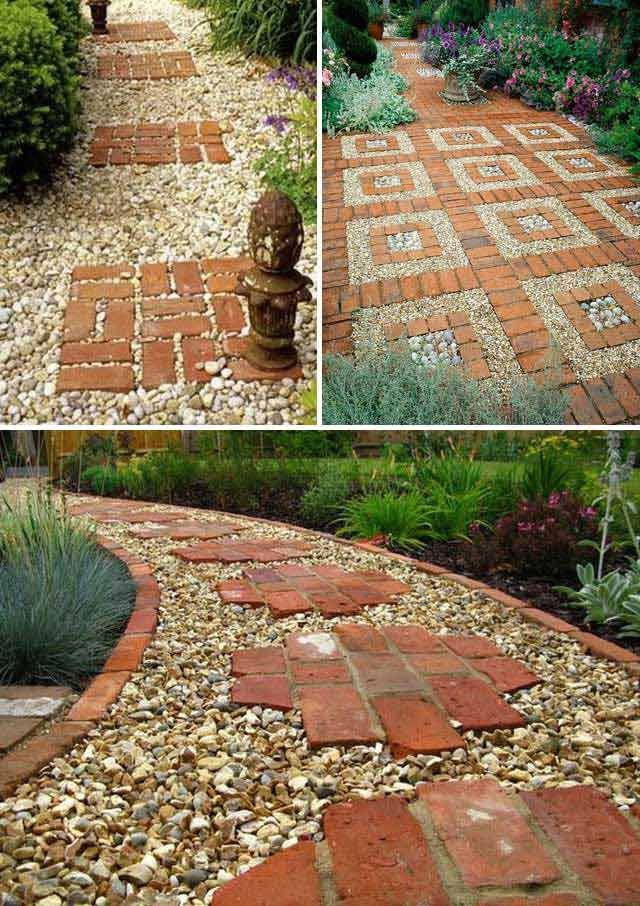 Put Great Red Bricks Over A Gravel Path Lay Stepping Stones And Combo To Update Your Landscape