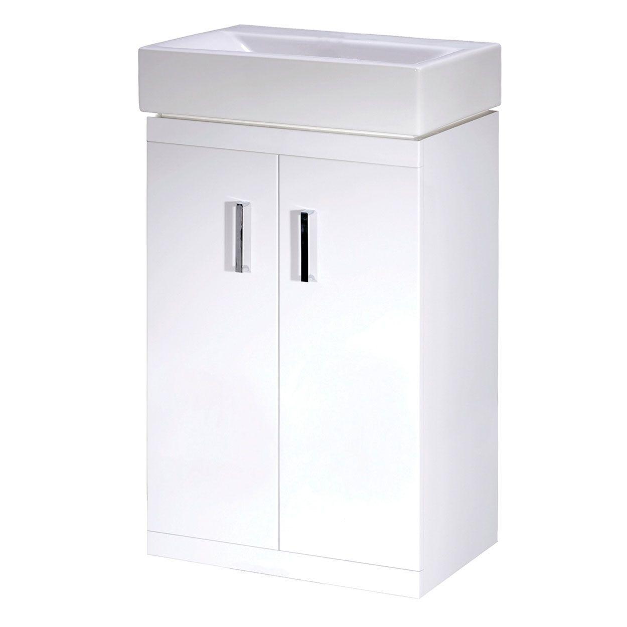 Lusaka White 450mm Floor Mounted Bathroom Vanity Unit And Basin