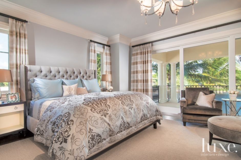 opulent design cream bedding. Bedding from Eastern Accents lends opulence to the guest bedroom  A tufted headboard and lounge