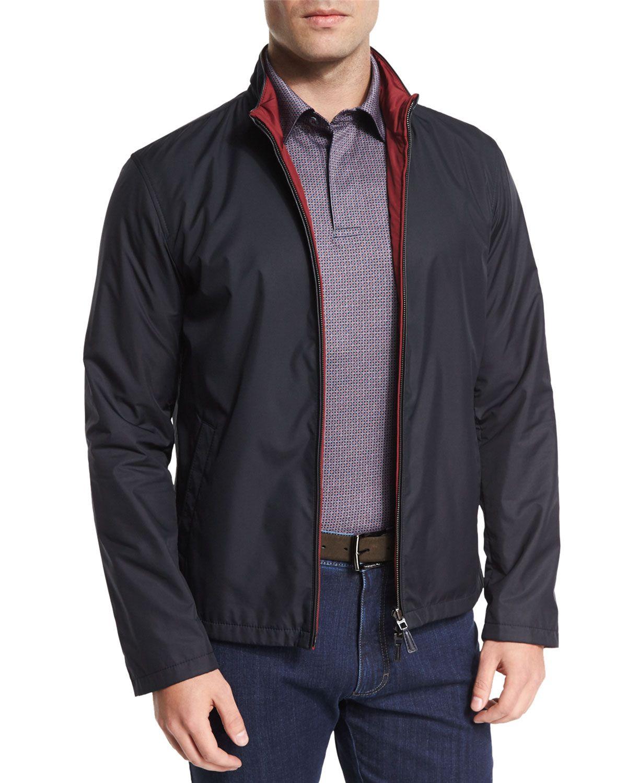 6e3609cc Reversible Full-Zip Jacket Navy | *Neiman Marcus* | Men's coats ...