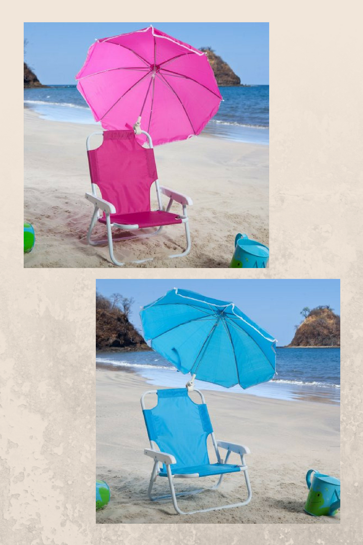 pink or blue kids beach chairs with umbrella attached get the rh pinterest ca