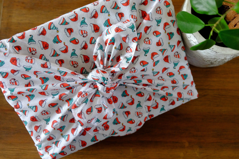 FUROSHIKI - 58 x 58 cm ou 68 x 68 cm/ Thème Noël / Emballage écologique & Zéro déchet - Oeko Tex Classe 100 - / Emballage cadeau