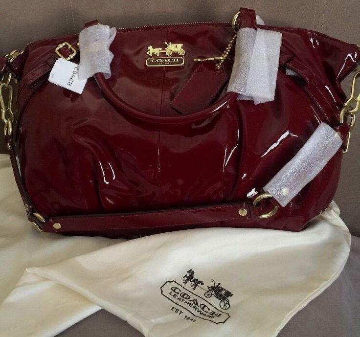 100 Authentic Coach Patent Leather Crimson Madison Sophia 15921