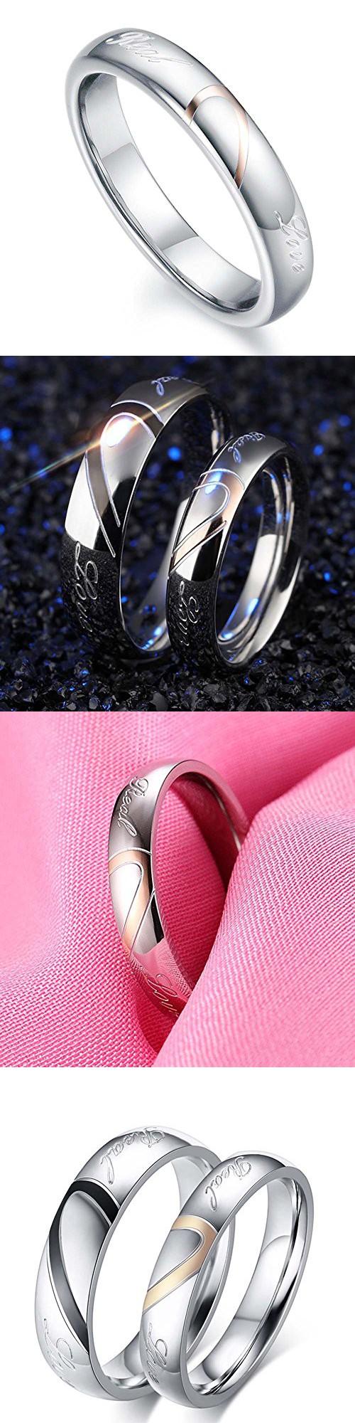 Mens Womens Heart Titanium Steel Promise Ring \