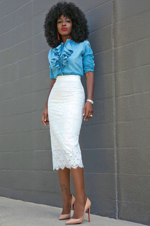 Ruffle Denim Shirt + Lace Pencil Skirt
