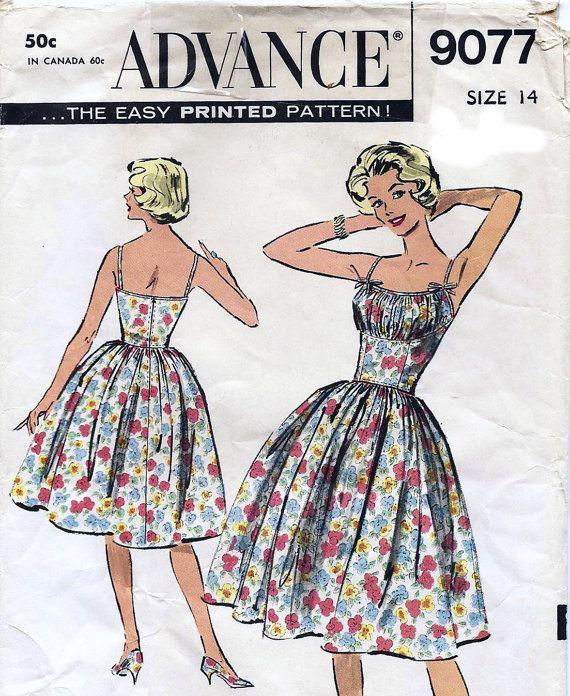 Vintage Advance Rockabilly Dress Pattern, Bust Shelf, 1950s, Very ...