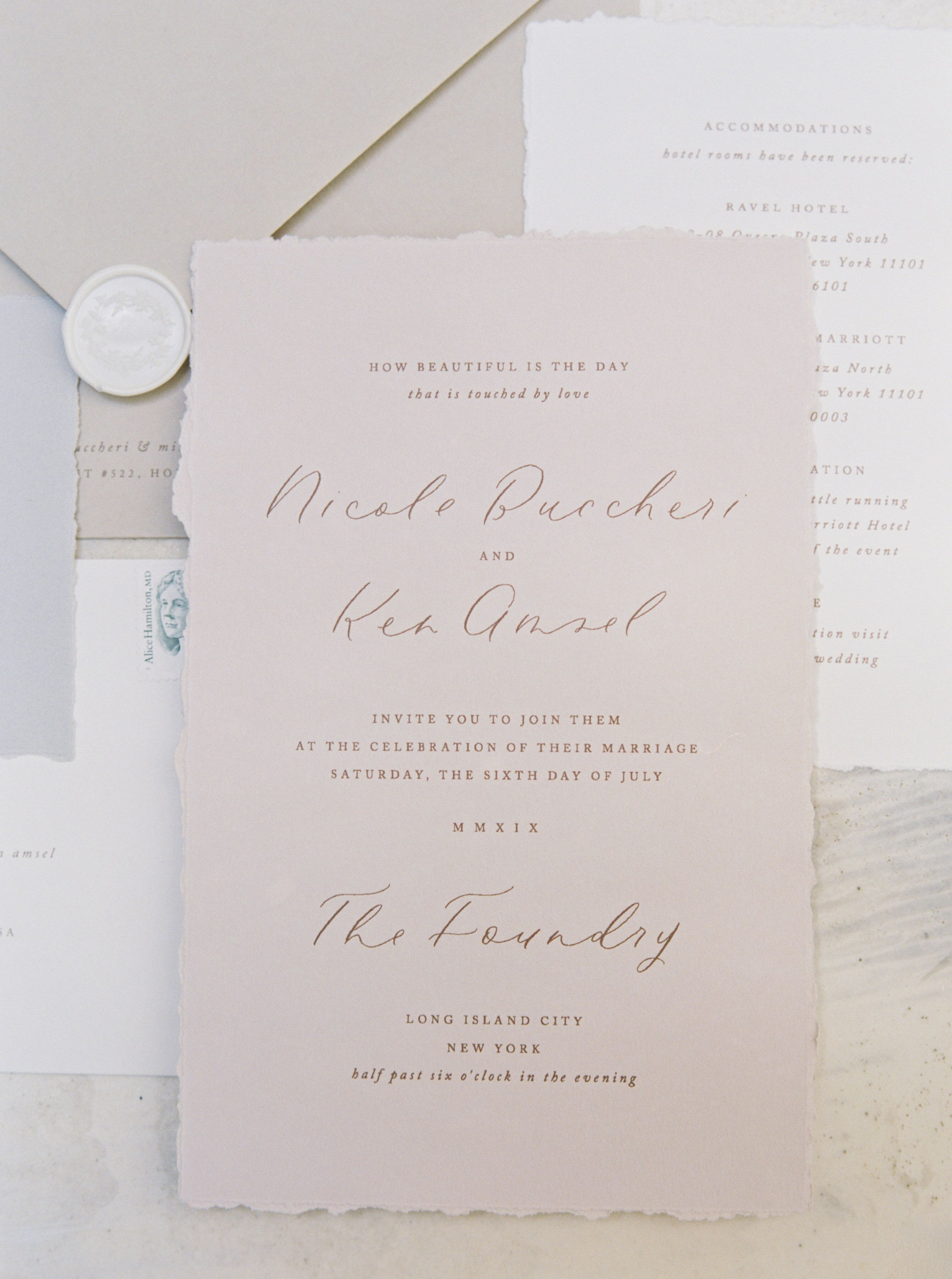 Romantic Nyc Wedding Invitations At The Foundry In New York City Dream Turned Reality By Flor Wedding Cards Wedding Stationery Inspiration Wedding Invitations