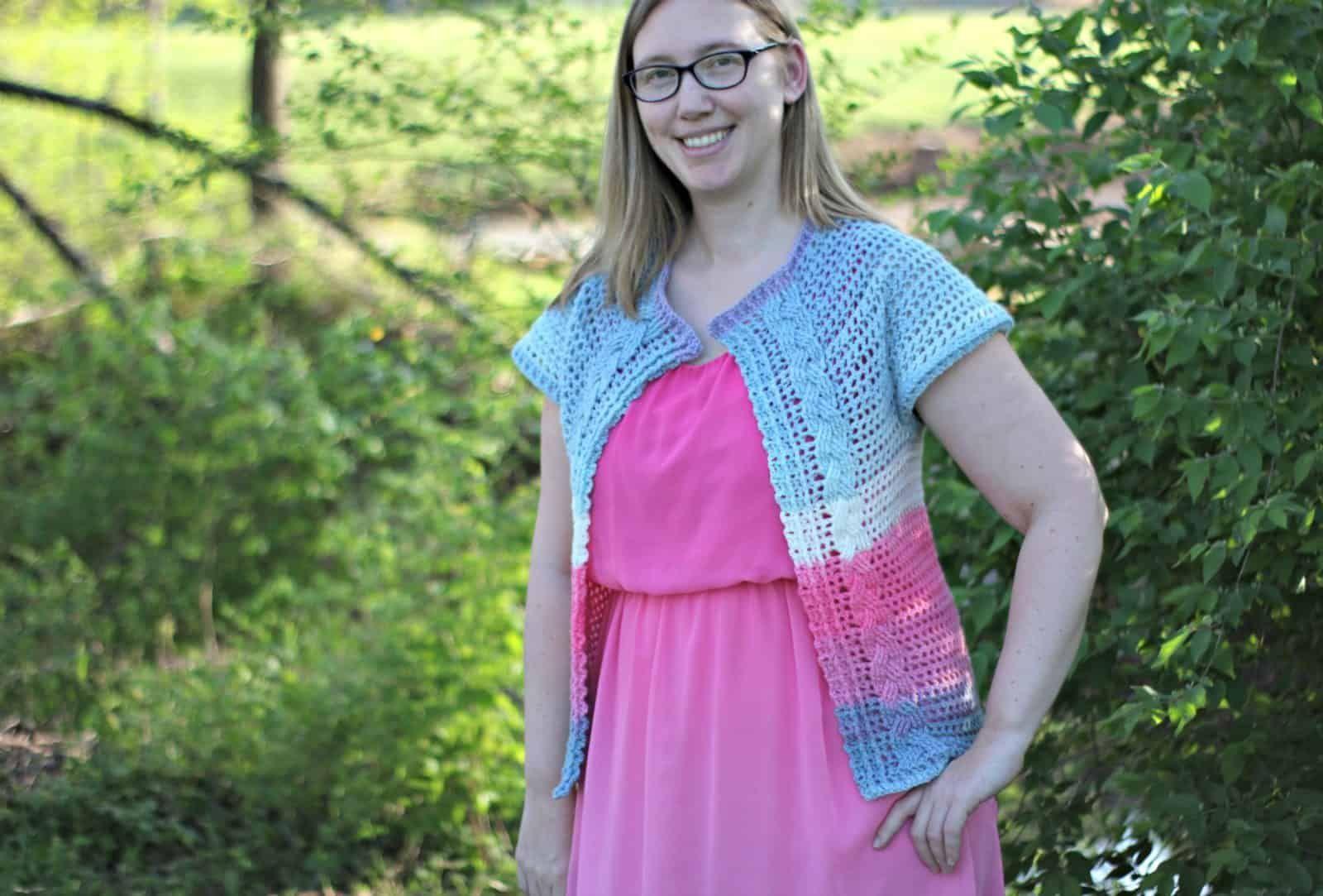 Free crochet cardigan pattern for women. Free Filet Cabled cardigan crochet pattern by Amanda
