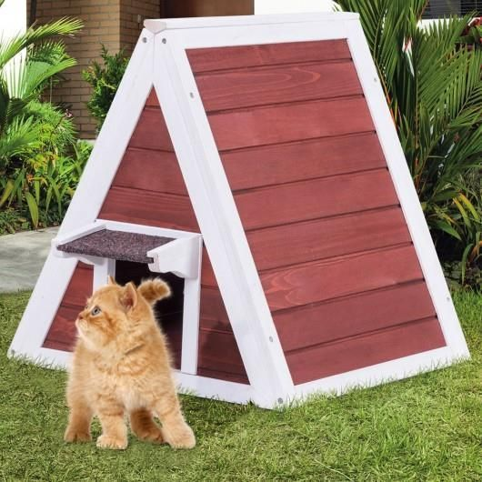 Ideal Shelter With Back Escape Door The Eaves Are Designed To Block Rain The House Is Suitable For Small Pets Of Outdoor Cat House Wooden Cat House Cat House
