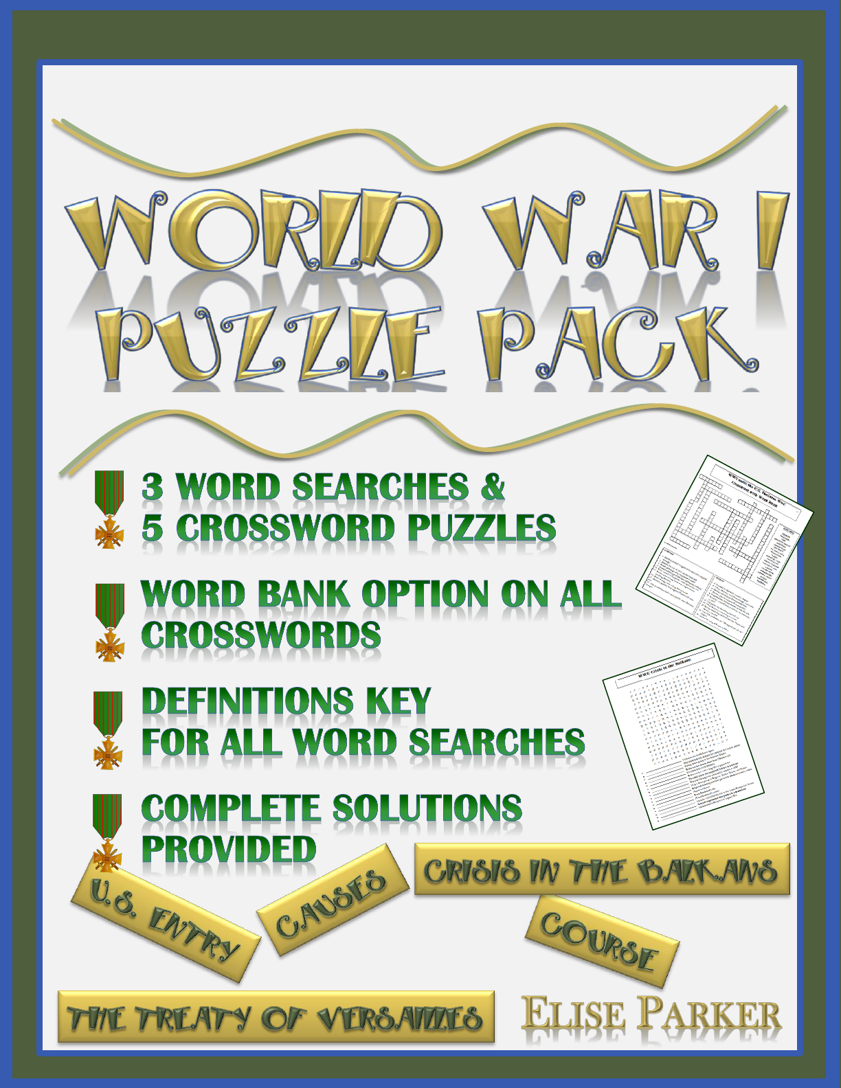 Wwi Puzzle Pack World War I Word Search And Crossword