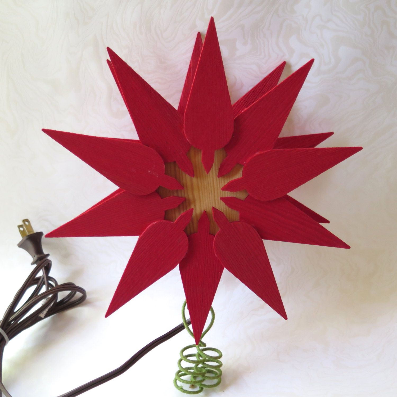 Christmas Tree Sweden: Scandinavian Christmas Tree Topper Poinsettia Red Pine