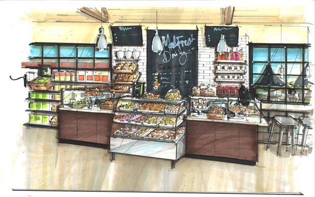 Innenarchitektur skizze cafe  The Hills Market to Open Downtown Grocery Store ...