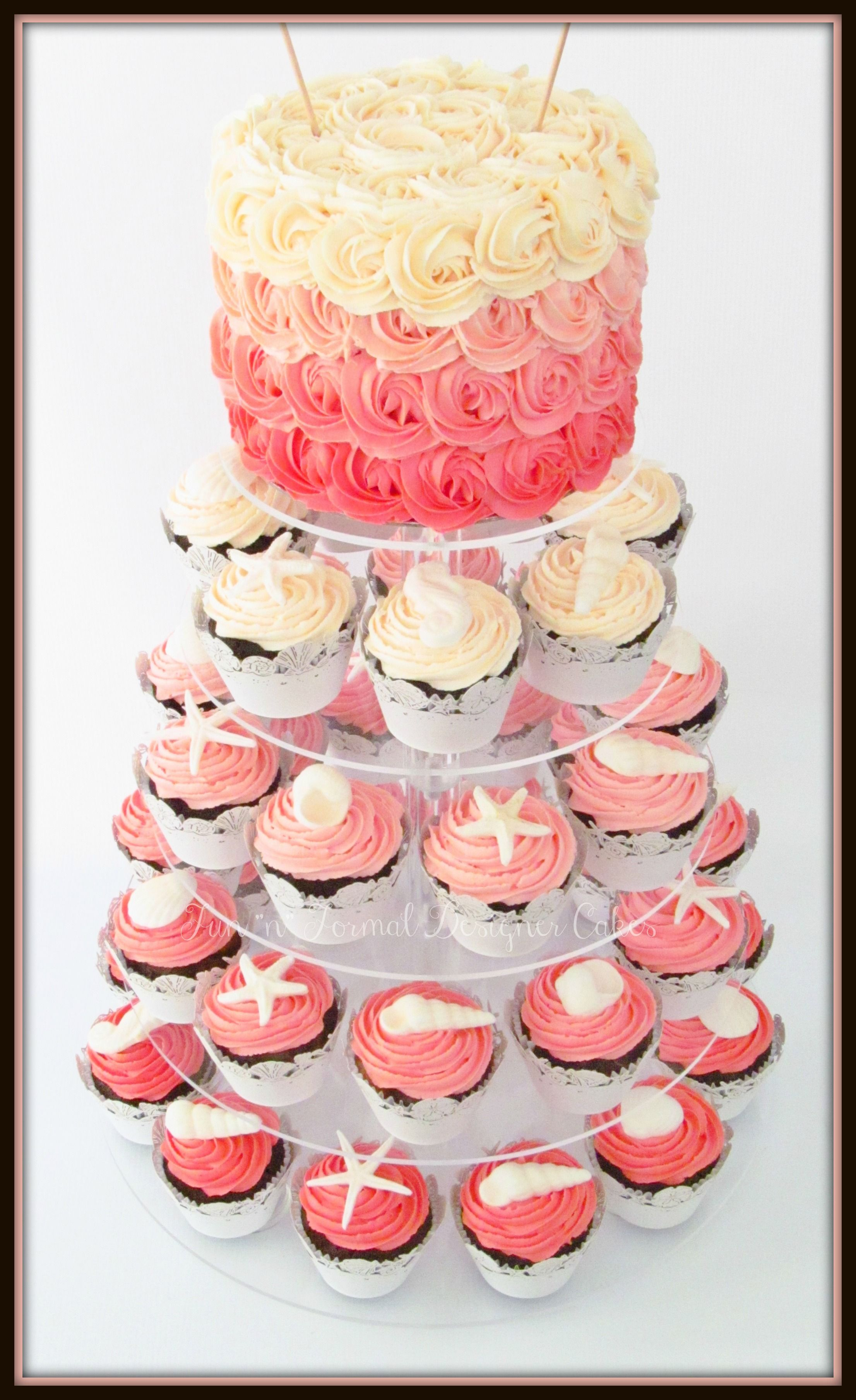 Beach themed buttercream rosette cake and cupcakes for a wedding ...