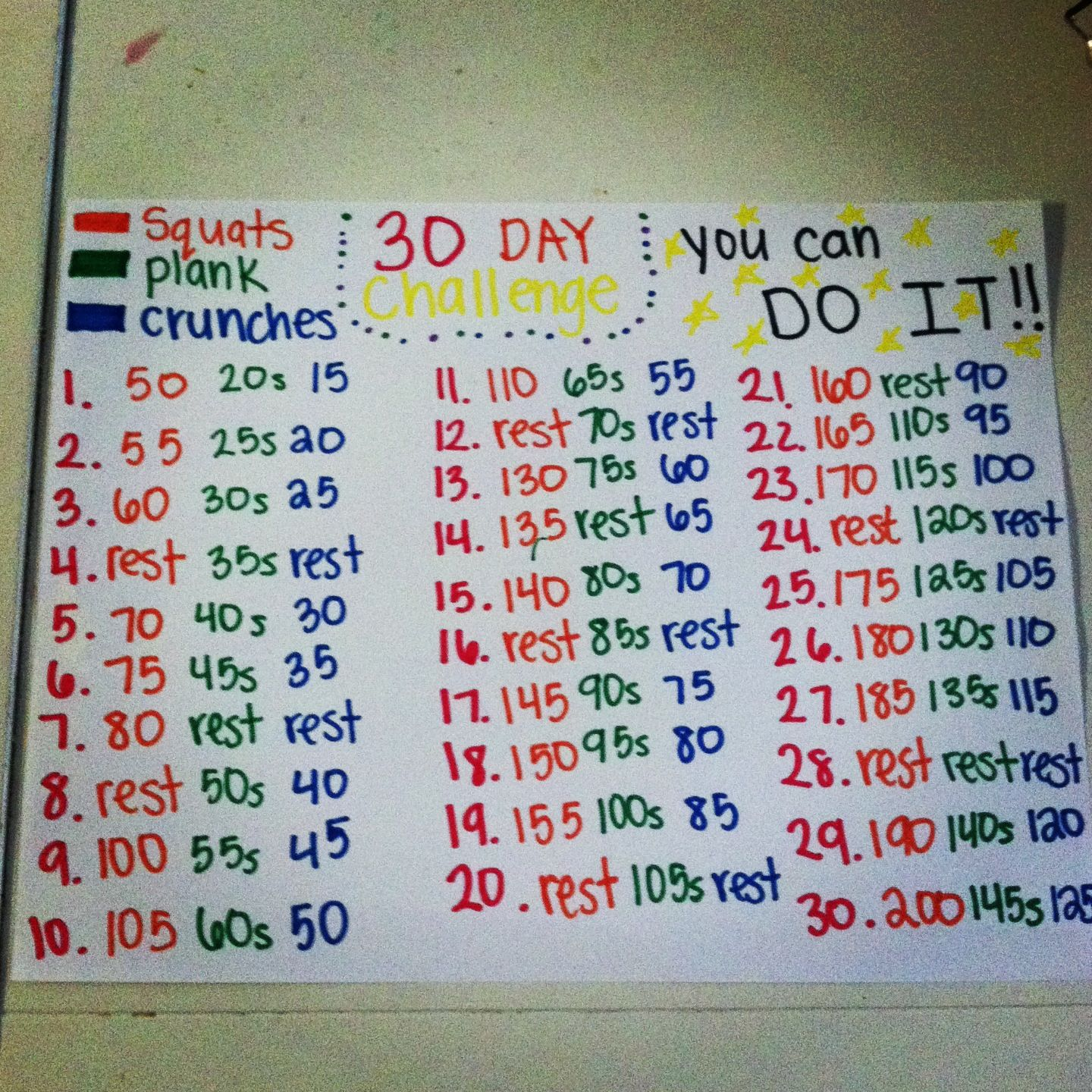 30 Day Challenge! Squats, plank & crunches