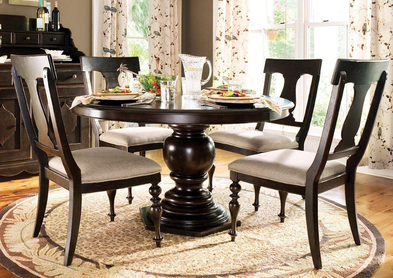 Paula Deen Home Pedestal Dining Set W Paulas Chairs Tobacco Round Pedestal Dining Table Round Pedestal Dining Pedestal Dining Table
